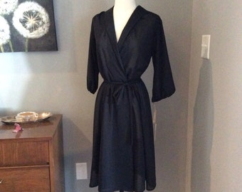 Vintage 1970s 70s Black Sheer Dress - day dress - size 12 - by Haypence - deadstock - tags attached