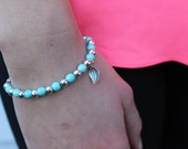 Turquoise and Silver Leaf Bracelet.