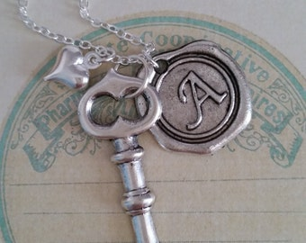 Key Necklace, Key To My Heart Necklace, Silver Key Necklace, Gift Idea, gift for her key jewelry