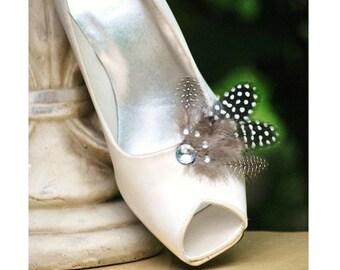 SALE Shoe Clips Shiny Guinea. Feminine Couture Burlesque Boudoir Pin, Wedding Bride Bridal Bridesmaid, Steampunk Classy Classic Chic Gift