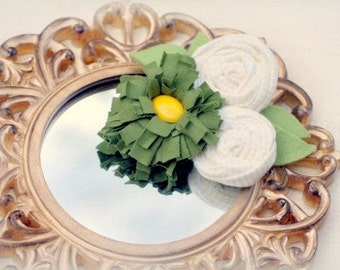 Olive Green Yellow Trio Hair Clip / Barrette Pin. White Stripes Rosette,  Spring Church Fashion, Bridal Bridesmaid Bride, Baby m2mg Gymboree