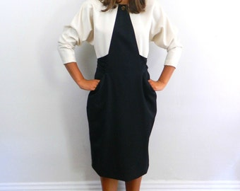1980s Dress ... Vintage 80s Structured Dress in Black and Cream  .... Size Medium to Large
