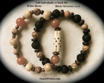 Men's Tribal Bracelet, Southwestern Boho Jewelry, Unisex Stacking Bracelet Set, Black Mountain Lava Stone, Carved Bone & Red Aventurine