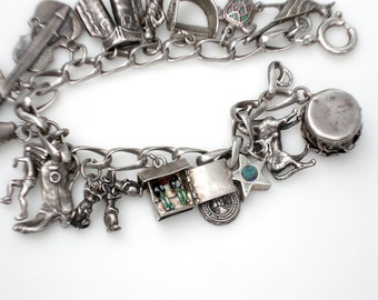 Sale ~ Vintage Sterling Silver Charm Bracelet - Western Theme/ 16 Charms