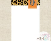 Personalized Notepad With Monogram - LEOPARD Collection - Orange & Navy