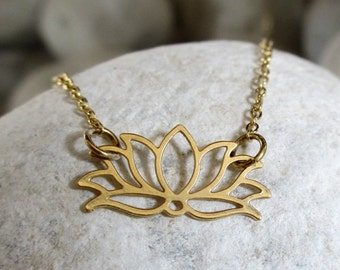 Gold Lotus Necklace, Gold Flower Necklace, Gold Necklace, Yoga Necklace, Om Necklace, Lotus Flower Necklace, Dainty Gold Necklace,