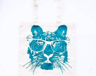 Cotton Tiger Tote Bag - Cotton Tote Bag with Eco Friendly Ink  -  Bags and Totes - Animal Print tote bag- Tiger Art - Tiger Print
