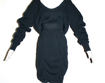AZZEDINE ALAIA Vintage LBD Black Slouchy Knit Dress - Authentic -