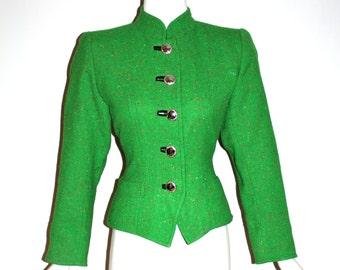 YVES SAINT LAURENT Vintage Rive Gauche Blazer Green Tweed Riding Jacket - Authentic -