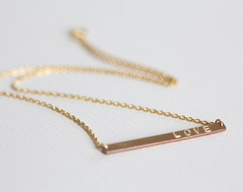 gold bar necklace, name necklace, mom necklace, personalized jewelry - gold filled
