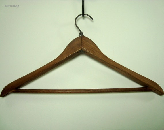 Wrapped wire wood coat hanger unusual vintage wooden farm - Unusual uses for wire coat hangers ...