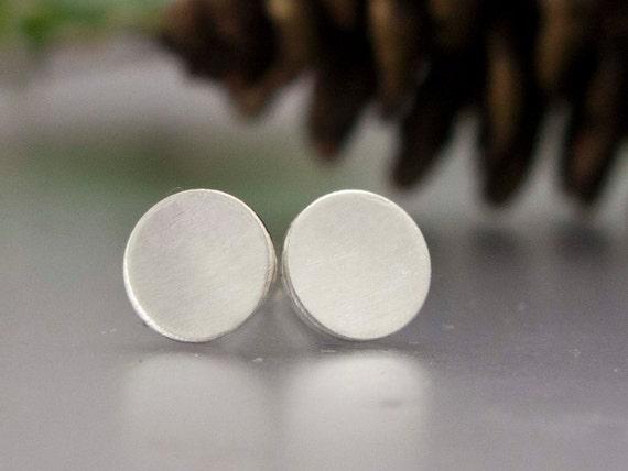 Simple Geometric Circle Stud Earrings in Brushed Sterling Silver