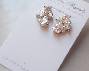 Cubic Zirconia Stud Earrings, Bridal Earrings, Crystal Wedding Jewelry, Bridesmaid Earrings - KATHRYN