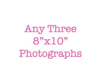 Three 8x10 prints living room wall decor nursery wall art for kids room custom set of 3 photographs