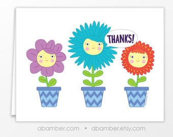 Thanks! Happy Flowers In Chevron Pots Colorful and Cute Blank Thank You Greeting Card - Illustrated by Adrianna Bamber