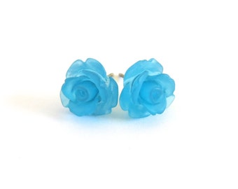 Frosted Ocean Blue Rose Earrings- Surgical Steel or Titanium Posts- 10mmBlack Friday Sale 20% Off