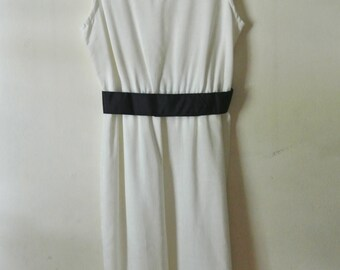 Vintage White Tank Dress with Navy Blue Belt Nautical Linen Summer Dress Size 6 Small Holiday Gift Ideas For Her