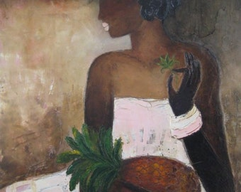"Lady with Pineapple original oil on linen painting print from my original oil 12x12"" Print"