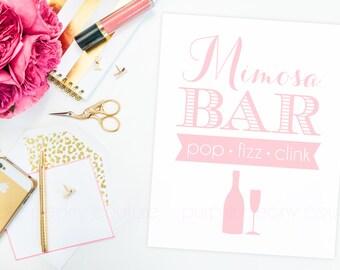 Mimosa Bar Sign Poster Blush Pink Bridal Shower Baby Decoration Brunch Pop Fizz Clink Wedding Champagne