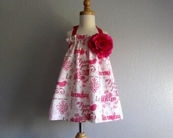 Little Girls Paris Dress - Halter Dress in Cream and Pink with Birds - Little Girls Sun Dress - Size 12m, 18m, 2T, 3T, 4T, 5,  or 6