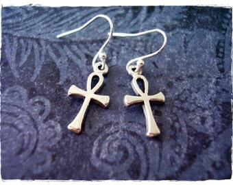 Tiny Silver Ankh Earrings - Sterling Silver Ankh Dangle Earrings