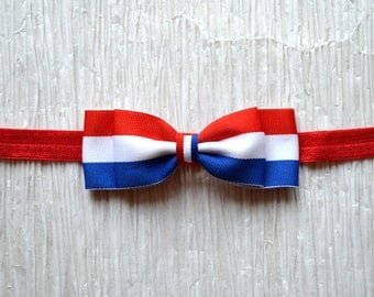 Fourth of July Headband. Flag Headband. Red, White & Blue Striped Bow. Baby Girl Hair Accessories. Girls Hair Accessories. July 4th Headband