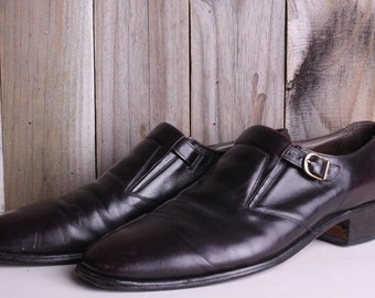 Men's Size 13 - 60s Nettleton Leather Shoes - Vintage Mens Slip on Dress Shoes - Shoes with Buckle