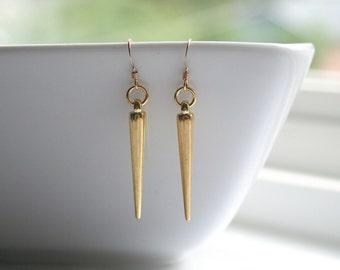 Gold, Silver Spike Earrings
