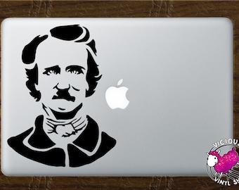 Edgar Allan Poe Silhouette Vinyl Decal Stickers (Multiple Colors Available) Glass Car Window MacBook Laptop Halloween Raven Poetry Poet