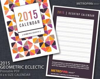 2015 Modern Printable 4x6 Calendar - Geometric Eclectic