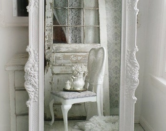 H O L L Y W O O D   Vintage Leaning Mirror Floor Mirror Regency Shabby Chic Baroque