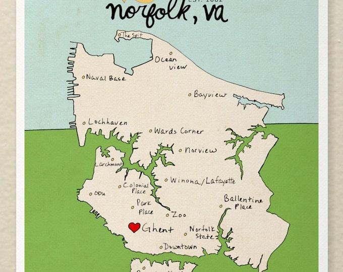 Norfolk, Virginia Map // Typographic Print, South Eastern US, United States, Giclee, Modern Baby Nursery Decor, Illustration, Travel Theme