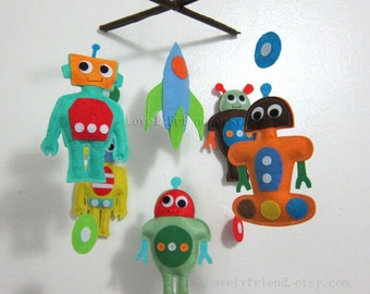 "Baby Mobile - baby boy robots Crib Mobile - ""Robot Story""  - Handmade Nursery Mobile (Match your bedding)"