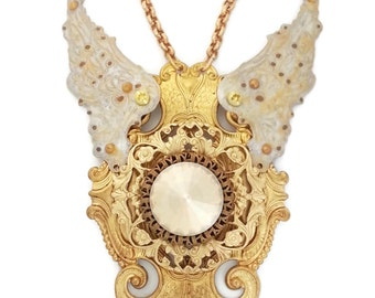 Snowflake Bride Fantasy Winged Necklace in Golden Brass, Swarovski Crystals and Pearls by Dr Brassy Steampunk