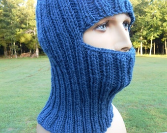 Balaclava, Ski Mask, Denim Blue, Full Face Coverage, Hikers, Exercise Outside, Mountain and Rock Climbers, Construction, Builders