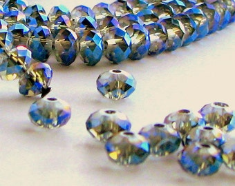 Crystal Rondelles 4 x 6 mm Ultramarine AB  FULL STRAND (50)