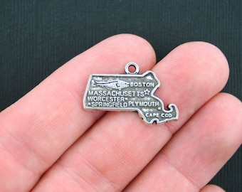 10 Massachusetts Charms Antique Silver Tone State Charm - SC3433