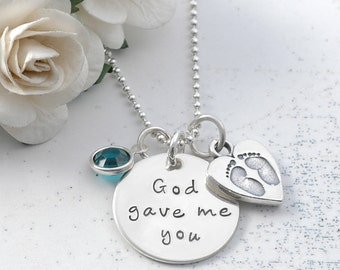 God gave me you  - New Mommy necklace - with birthstone - baby feet in heart charm