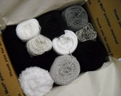 Mystery Box of Yarn, Knitting Supplies, Refresh Your Stash, Black White Gray Collection, ybox6/black