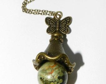 Autumn Necklace, Butterfly Jewelry, Rhyolite Green Stone Pendant