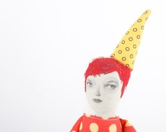 Art doll, OOAK, fashion doll, Collage doll -  Redhead lady With yellow pointed hat  Wearing red Polka Dots Dress - timohandmade cloth doll