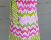 Girls chevron Easter pillowcase dress pink and lime shaded chevron riley blake fabric perfect for Easter, spring custom made by Baby Harrill
