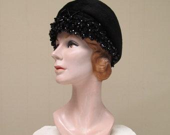 Vintage 1960s Dior Hat / 60s Mod Black Jeweled Christian Dior Chapeaux Paris - New York