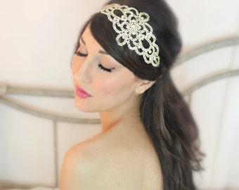 Double Bridal Rhinestone Bridal headband, tiara, wedding, accessory, headpiece, boho - Le Luvre - by DeLoop