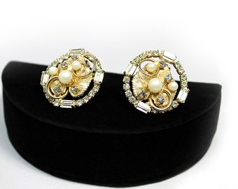 Beautiful Hobe Leaf Earrings with Rhinestones and Faux Pearls