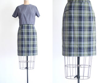 vintage 50s ladies pencil skirt 2 piece matching set- button back crop top / 1950s - gray & olive plaid - woven cotton / pin up - wiggle