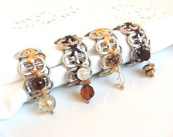 Eco-Friendly NAPKIN RINGS - earth tones - brown and gold - recycled/eco-friendly gifts - under 20.00