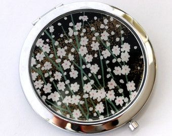 Blossoms at Midnight Chiyogami. Compact Mirror