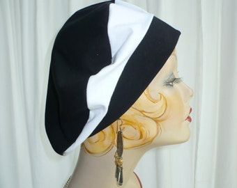 Black and White  Cotton Jersey Beret, Chemo Hat