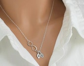 Friendship Infinity Sterling Necklace w/ Engraved Personalized Initials on White 16k Gold Leaf Charms -Sterling & 16k White Gold Necklace